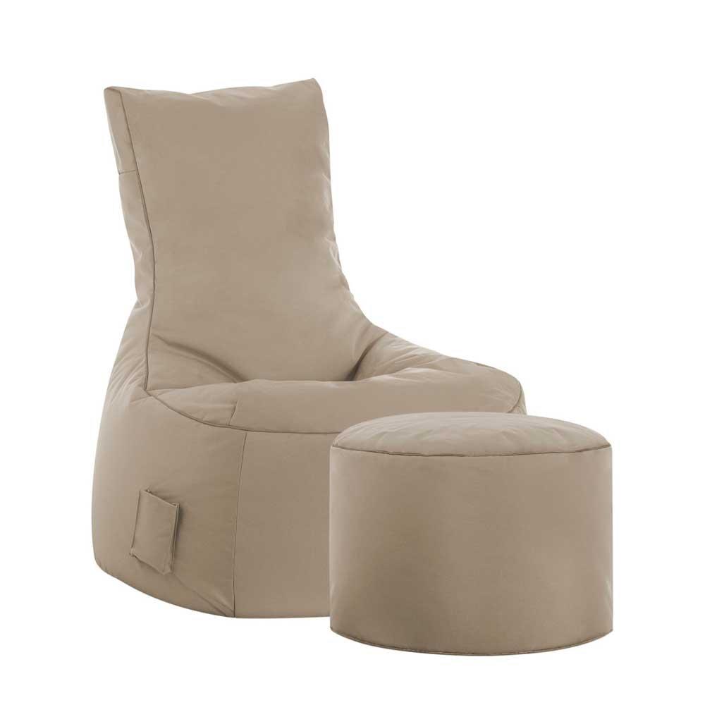 Pharao24 Sessel als Sitzsack Beige Tiefe 115 cm mit Fußhocker Ja