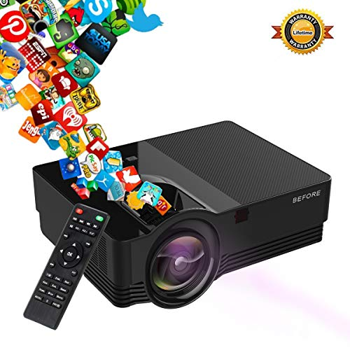 (Mini Projector -(Newest Version) 50% Brighter Video Projector Full HD LED with 180'' Display and 1080P Support, Compatible with Smartphone,Fire TV Stick, PS4, HDMI, VGA, TF, AV and USB )