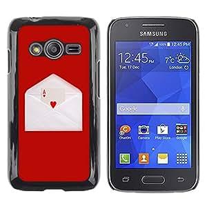 QCASE / Samsung Galaxy Ace 4 G313 SM-G313F / amor as del corazón carta juego de cartas sobre rojo / Delgado Negro Plástico caso cubierta Shell Armor Funda Case Cover