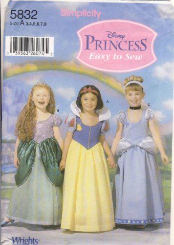 Simplicity Pattern 5832 Disney Princess Costumes, Sizes 3-8 (Easy Disney Costume)