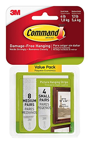 Command Picture Hanging Strips HLX1K, 4-Small, 8-Medium, 2 Pack