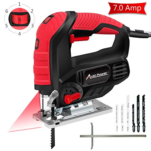 Jigsaw, Avid Power 7.0A 3000 SPM Jig Saw with Laser Guide, Variable Speed, Bevel Angle (0°-45°), 6PCS Blades and Scale Ruler, AJS268 ()
