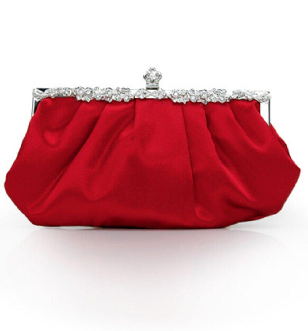 Women's Classic Evening Prom Wedding Party Cocktail Vintage Clutch Bag Purse Rhinestones Handbag (Red)