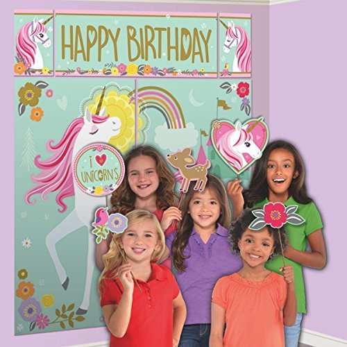 Price comparison product image Amscan Party Supplies Magical Unicorn Scene Setter with Photo Booth Props, Multicolor