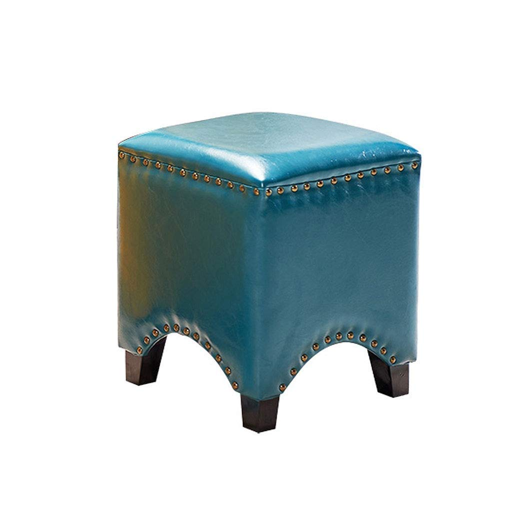 bluee Footstool Small Stool Family Square Stool PU Solid Wood Yellow Sofa Stool Stylish and Durable Haiming (color   Yellow)