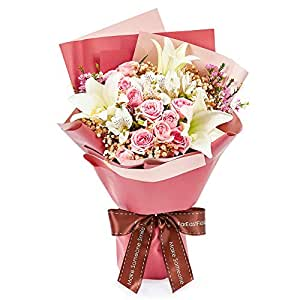 Valentine's Day Flower - Lily Longiflorium & Pink Roses - Be Mine VC08-D