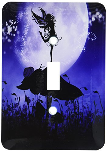 3dRose lsp_201070_1 A Fairy Dancing on A Mushroom Purple Black Fairy Silhouette Single Toggle Switch ()