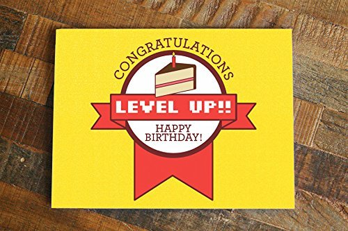 Amazon Funny Gamer Birthday Card Level Up