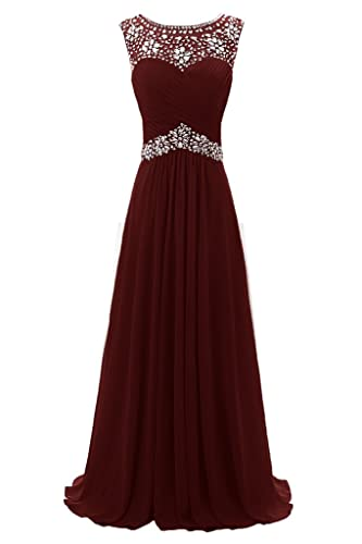Ellames Beaded Straps Long Prom Dress Floor Length Evening Gown