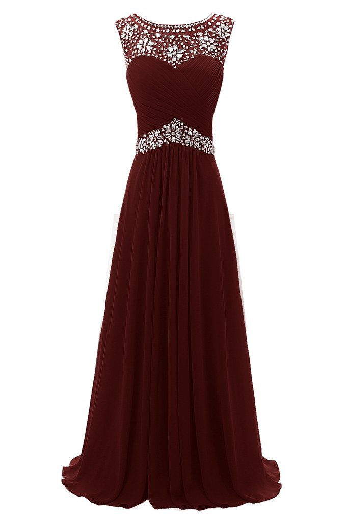 Ellames Beaded Straps Long Prom Dress Floor Length Evening Gowns Burgundy US 16 by Ellames