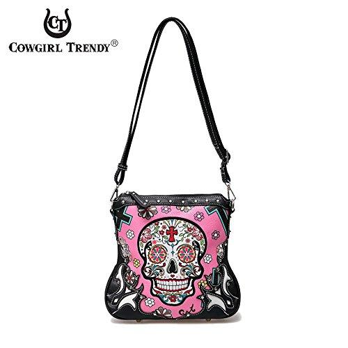 Cowgirl Trendy Sugar Skull Crossbody HandBag Concealed Carry Bag (Fuchsia)