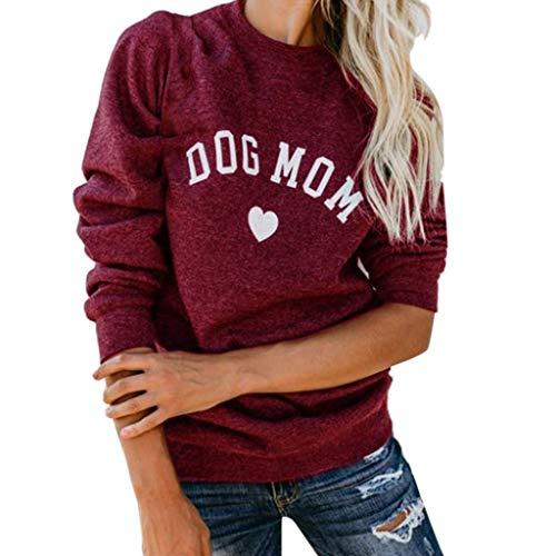 Rambling New Womens Casual Dog MOM Letter Printed Long Sleeve Blouse Tops Sweatshirt