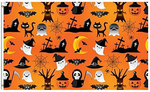 ShineSnow Halloween Holiday Pumpkin Ghost Cat 3x5 Feet Flag,