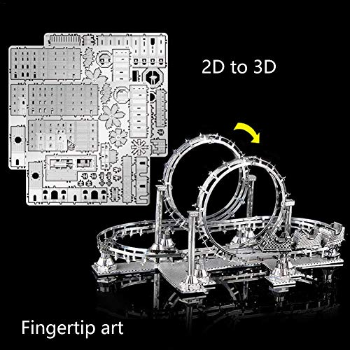Longshow Assembled Model, 3D Stereo Metal Assembled Model DIY Puzzle Puzzle Roller Coaster Toy Model ()