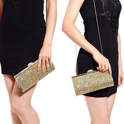 Wedding Style Shimmer Clutch Gold Shoulder Bag Glitter Party Bag Evening Prom Handbag Ladies Party Womens PwqaUYa
