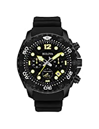 Bulova Sea King Men's UHF Watch with Black Dial Analogue Display and Black Rubber Strap - 98B243