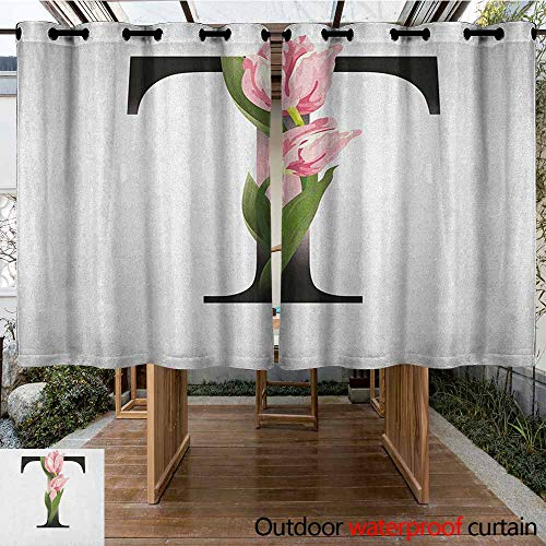 (AndyTours Outdoor Grommet Window Curtain,Letter T,Spring Garden Alphabet Font Types Soft Pink Tulip Flowers and Letter T,for Patio/Front Porch,K160C115 Pale Pink Green)