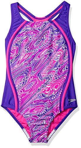 Speedo Girls Printed Sport Splice, Purple, Size 16 - Girls Race