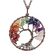 #LightningDeal NIUTA Chakra Gemstone Tree of Life Natural Tumbled Gemstone Wire Wrapped Pendant Necklace