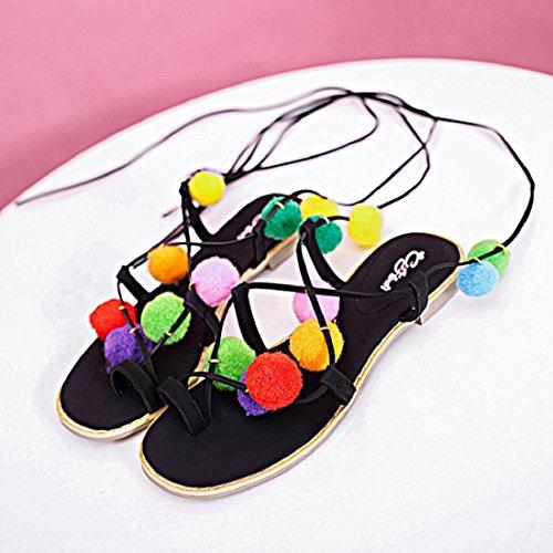 Tongshi Sandalias planas de mujer de Gioseppo de piel con detalles multicolor Estampado Negro