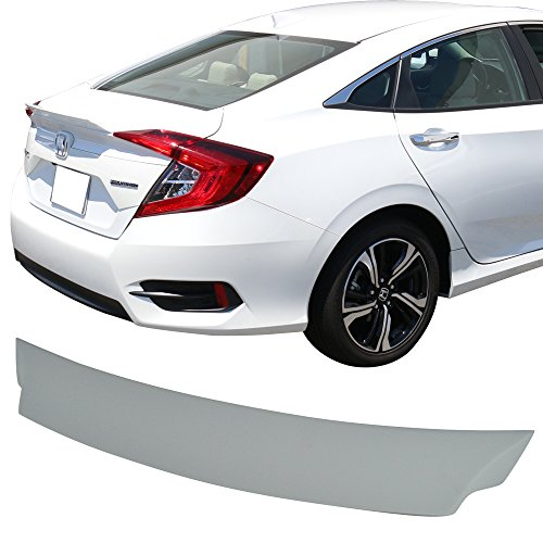 (Pre-painted Trunk Spoiler Fits 2016-2018 Honda Civic | IKON Style FRP Painted Gray Rear Tail Lip Deck Boot Wing By IKON MOTORSPORTS | 2017)