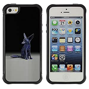 iArmor Hybrid Anti-Shock Defend Case Fennec Fox Statue Modern Art Blue Universe Stars Apple iPhone 4s