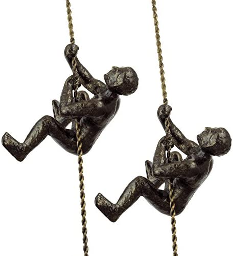 Kira Home Titan 6 Climbing Man Metal Wall Sculpture, Hand-Painted Charcoal Gold Finish Set of 2