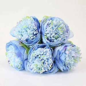 HOMZE Fall Decorations Flower Wedding Bouquet Peony Dahlias Artificial Flowers Fall Vivid Fake Wedding Flower Bridal Bouquets Decoration Blue 8