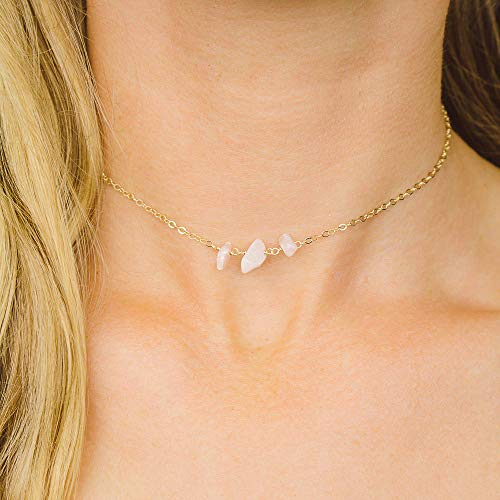 "Rose quartz beaded chain choker necklace in gold plate - 12"" chain with 2"" adjustable extender - January birthstone"