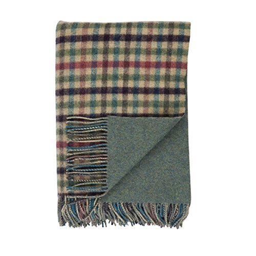 och Oire Reversible Green Check and Green Tweed Lambswool Throw (Pure Lambswool Check)