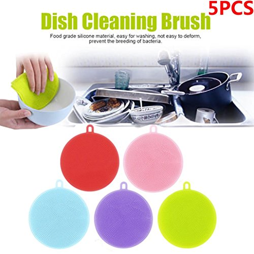 Beauty Music® Silicone Sponge Multipurpose scrubber For Kitchen, Brush Pot Pan Dish Bowl, Wash Fruit and Vegetable, Pot Holder (5pcs Color)