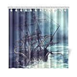INTERESTPRINT Pirate Ship Octopus Custom Shower Curtain 72 X 72 Inches Waterproof Polyester Fabric Bathroom Sets Home Decor