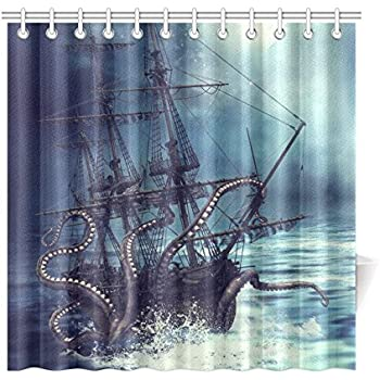 pirate ship octopus custom shower curtain 72 x 72 inches waterproof polyester fabric bathroom sets home decor