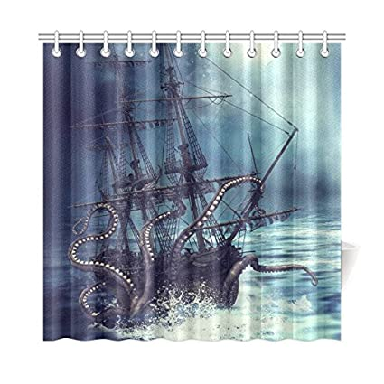 InterestPrint Pirate Ship Octopus Custom Shower Curtain 72 X Inches Waterproof Polyester Fabric Bathroom Sets