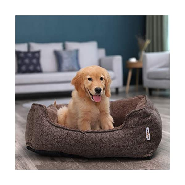 FEANDREA Washable Plush Dog Bed with Removable Cover, Dog Sofa, Brown PGW10CC 2