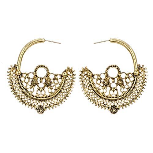 XBKPLO Dangle Hoop Earrings for Women's Fashion Retro Lace Hollow Flowers Oversized Dangling Ear Hook Wild Jewelry Lady Gifts - Chain Steel Handcuff Oversized