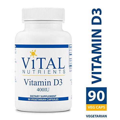 Vital Nutrients - Vitamin D3 400 IU - Supports Calcium Absorption and Bone Health - Gluten Free - 90 Vegetarian Capsules per Bottle
