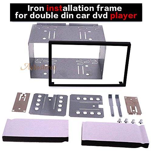 Autostereo 180 x 103mm Universal Double DIN Installation Slot Metal Car Stereo Radio Mounting Frame 2DIN Universal Car Radio Adapter In-Dash Mounting Frame Complete Fitting - Double Kit Din