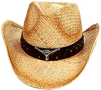 Tea Stain Paper Straw COWBOY HAT w// Turquoise Blue Beads WOMEN WESTERN Cowgirl