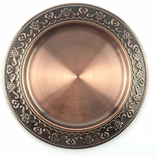 24Cm,30Cm,35Cm, 40Cm Stainless Steel Metal Plate Bronze Round Dish Plate/Cooper/Bronze Metal Serving Tray Charger Plate 24cm bronze