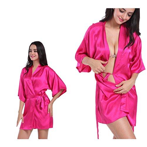 Camicie Corto e Rosso e Vestaglie da Kimono BOYANN Notte Rose Donna Allattamento Raso Accappatoi Pigiami qpfSIEx0w