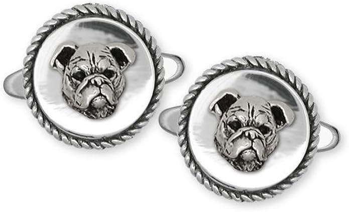 Bulldog Jewelry Bulldog Cufflinks Jewelry Sterling Silver Handmade Dog Cufflinks BD15-CL