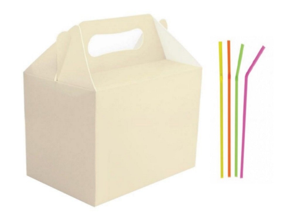 250 Cream Ivory Birthday Food Meal Party Boxes Gift Wedding Favour Box PLUS complimentary neon straws