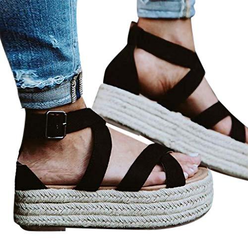 Con Tacón B Al Negro Para Ancha Y Cuña Tobillo zarlle Zapatos Antelina Alta Cuerda Ante Tira Plataforma Mujer Sandalias De BwqHxOd0B