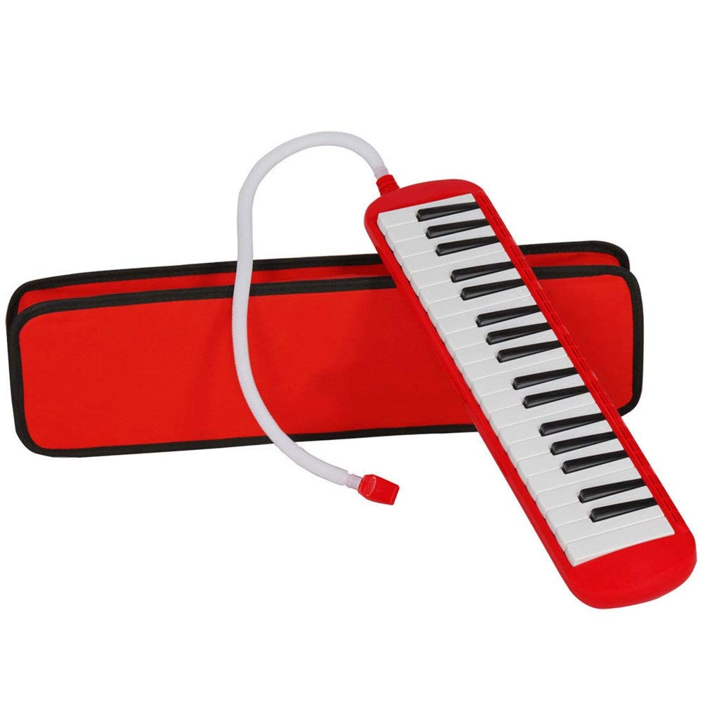 Melodica Musical Instrument Piano Style Educational Kids 37 Keys Portable Melodica Musical Instrument With Carrying Bag Straps 2 Mouthpieces Tube Sets Gift Toys For Music Lovers Beginners Red for Musi