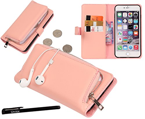 Urvoix iPhone 6 Plus/iPhone 6S Plus Case, Organizer PU Leather Clutch Purse with Detachable Case, Card Slots and Zip Pouch Cover for iPhone6 Plus/6S Plus(5.5