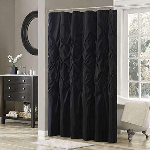 Home Collection Black Modern Textured Tufted Pin Tucked Pleated Fabric Shower Curtain Bath