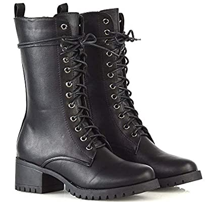 ESSEX GLAM Womens Lace Up Mid Calf Chunky Block Low Heel Boots Ladies Grip Sole Platform Combat Shoes 3