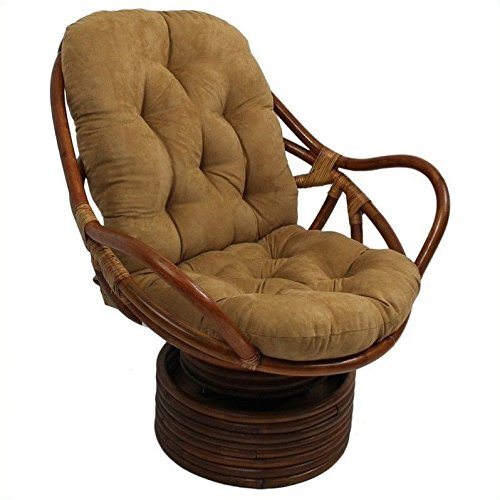 International Caravan 3310-MS-JV-IC Furniture Piece Rattan Swivel Rocker with Micro Suede Cushion by International Caravan