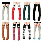 VWU 8 Pack Girls Animal Tube Socks Cotton Stocking Socks Knee High Socks 3-12Y (Suit 3-12 years old girls, Cartoon 1)
